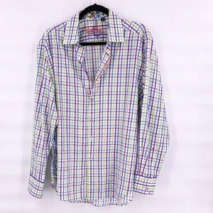 Robert Graham green blue stripe men dress shirt L